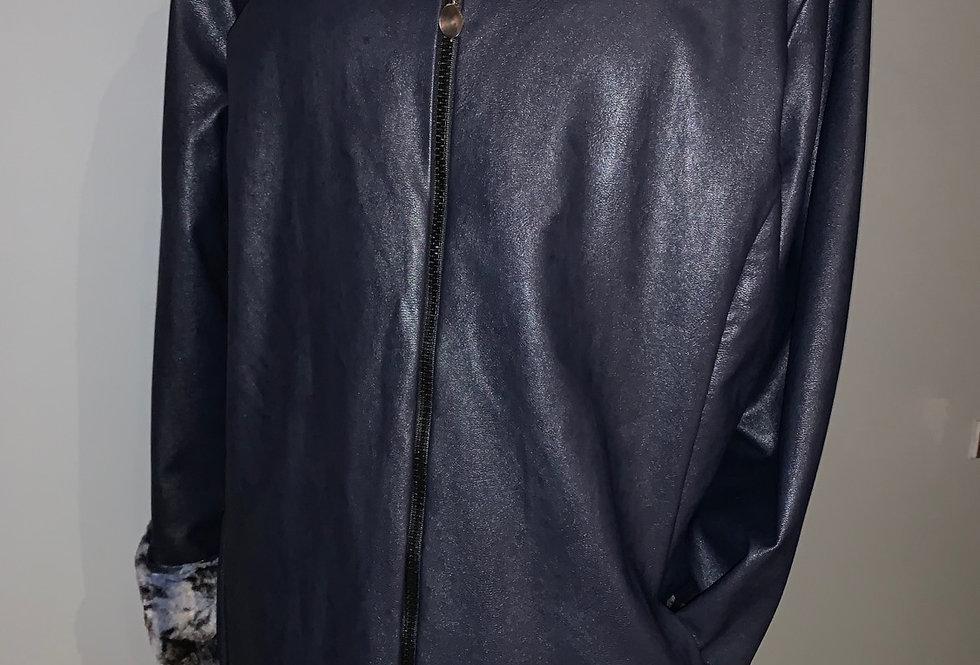 Reversible Faux Fur Jacket  (Navy)
