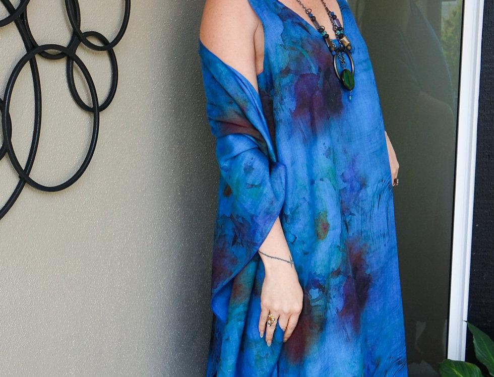 Hand Dyed V-Neck Linen A line Dress