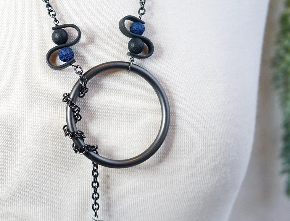 Black & Navy Lava Rubber Wave Necklace