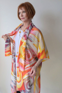 Hand Painted crepe de chine jacket insid