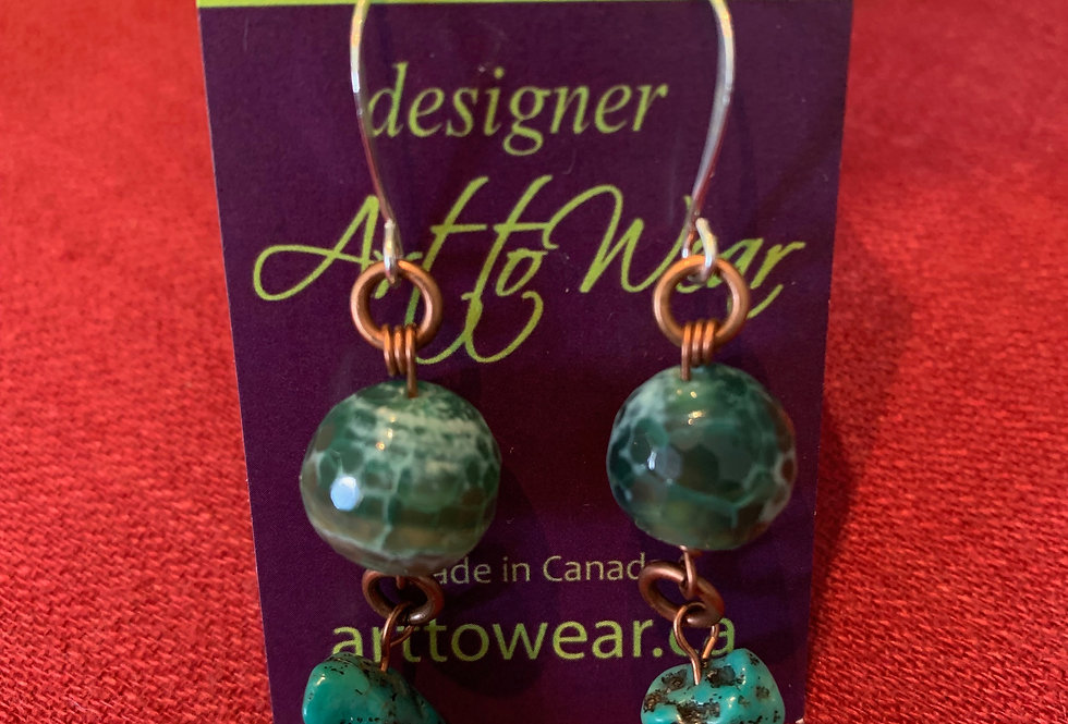 Green Faceted Agate & Turquoise Earrings