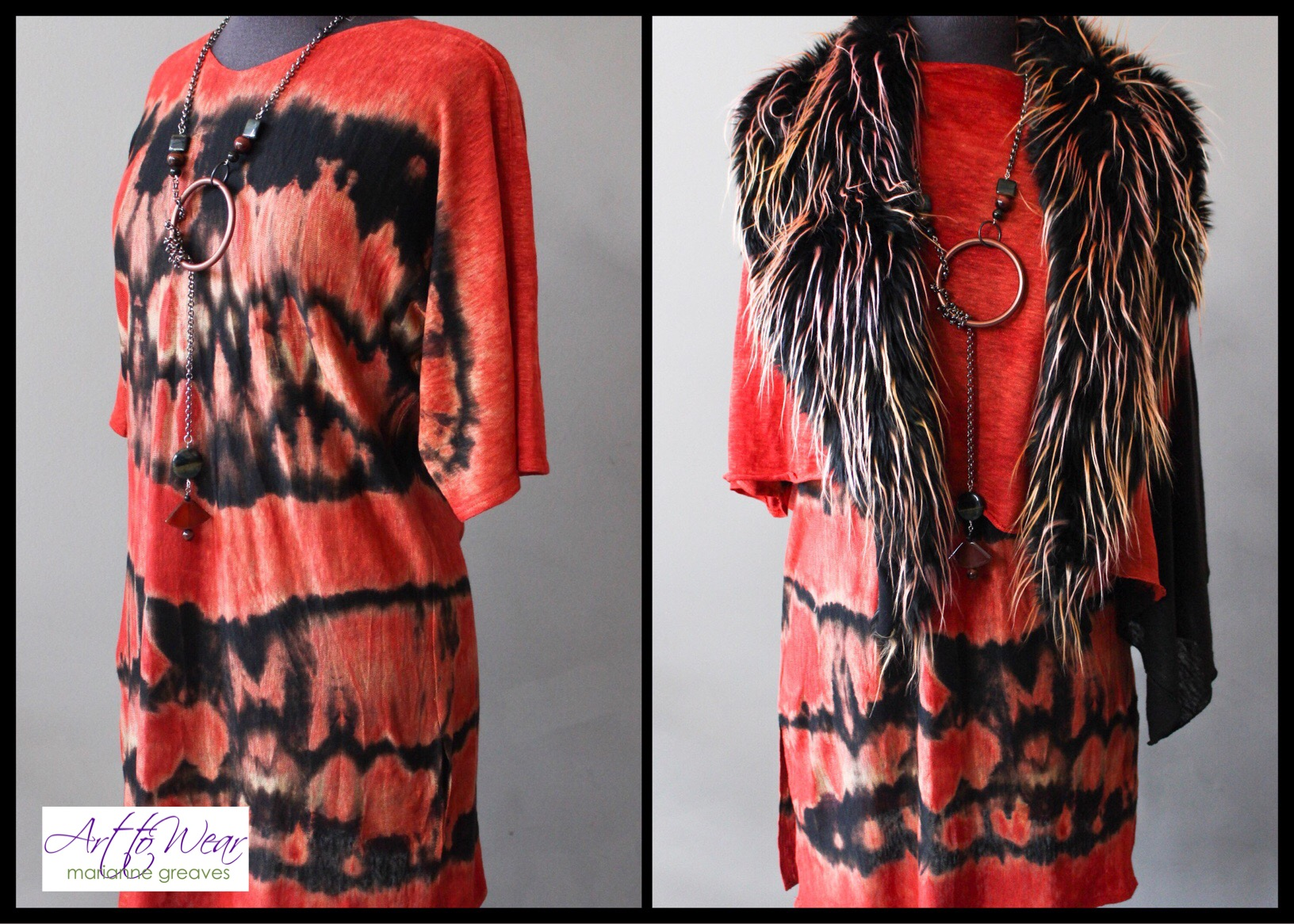 Twist Dyed Tunic & Faux Fur Vest