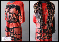 Twist Dyed Tunic & Faux Fur Vest