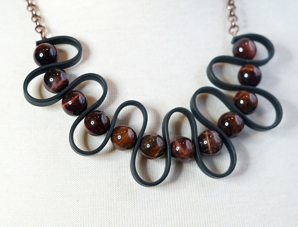 Red Tigers Eye Rubber Wave Necklace