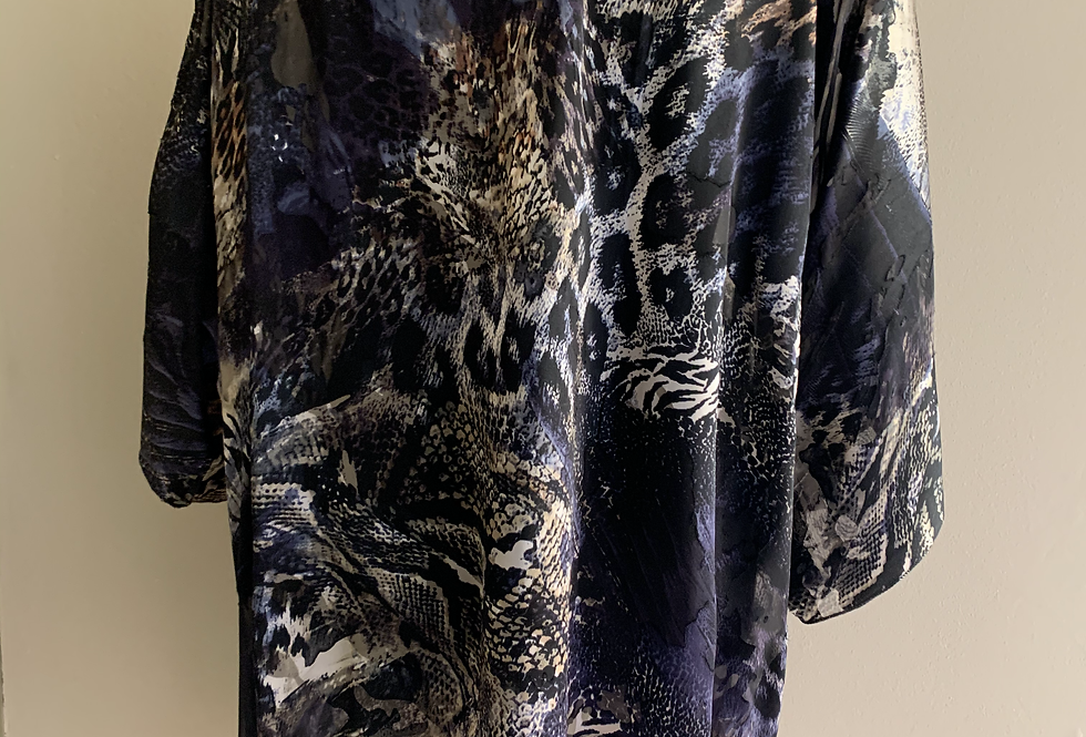 Animal print silk/viscose O/S Jacket