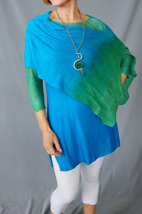 Emerald Turq. knit linen wrap