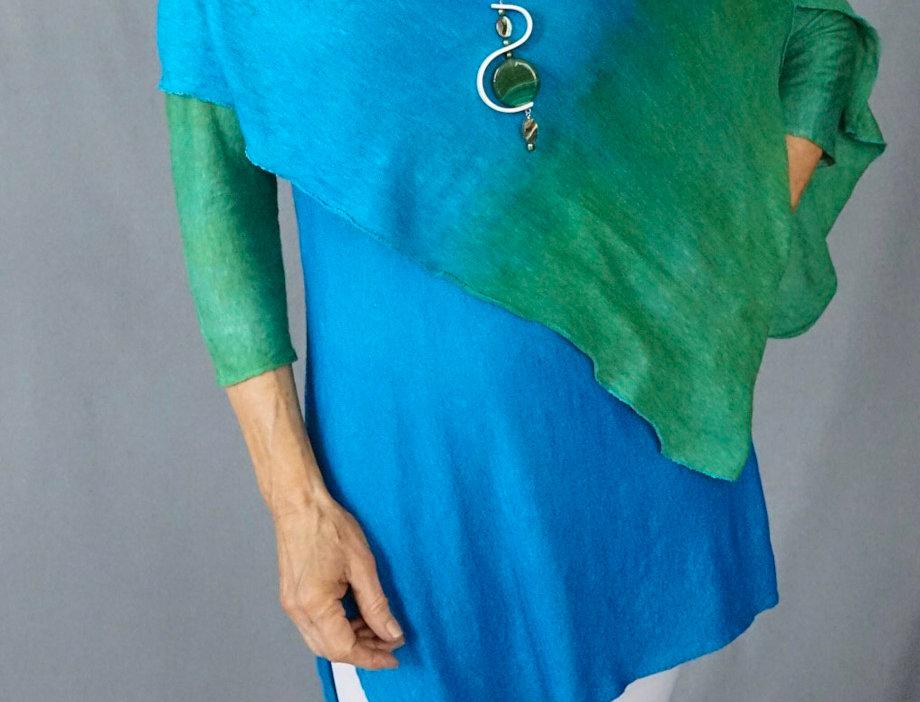 Emerald/Blue Knit Linen Wrap