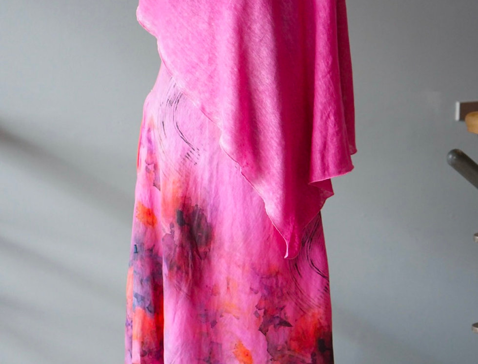 Hand Dyed Peony Pink Knit Linen Wrap