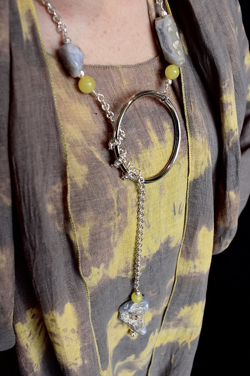 Lariat with chunks of Lepidolite and Yellow Jade