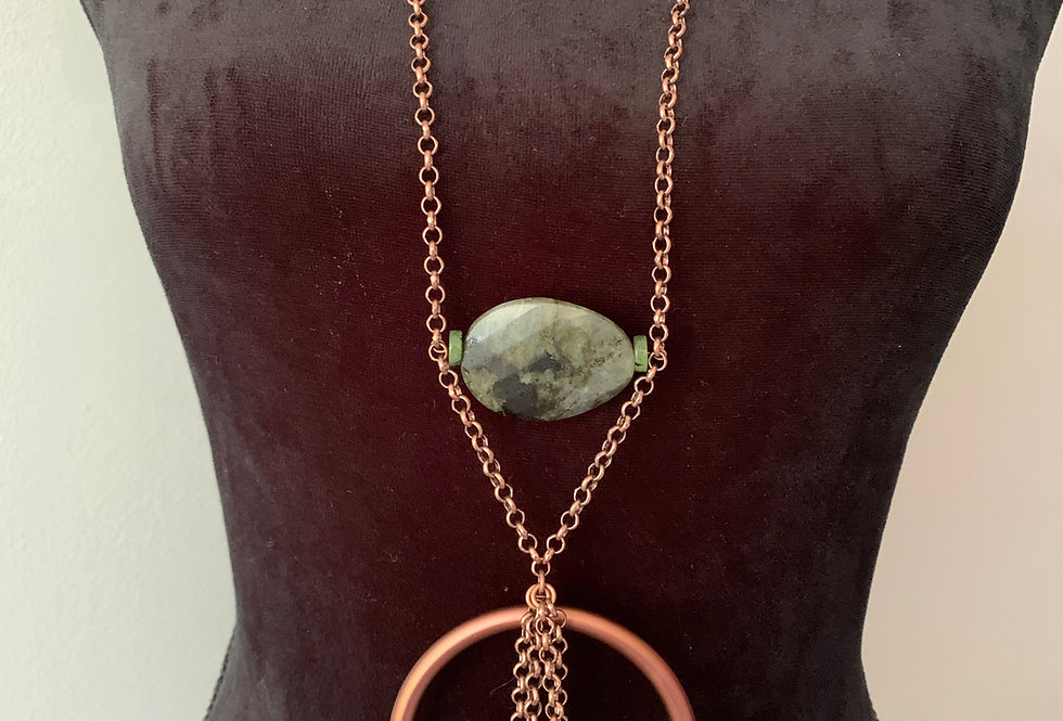 Copper Ring, Jade, Faceted Agate Necklace