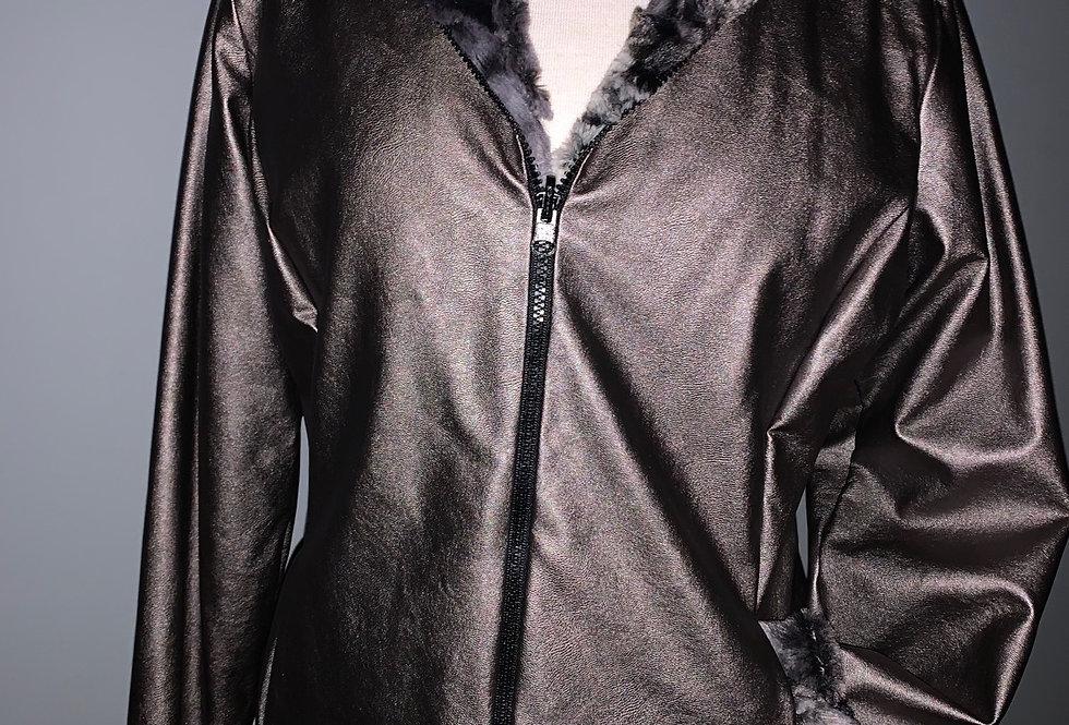 Reversible Faux Fur Jacket (Pewter)