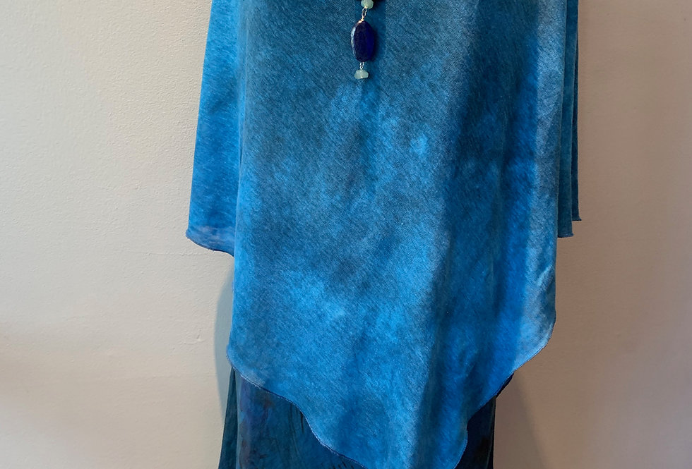 Hand Dyed Knit Linen Wrap  Royal