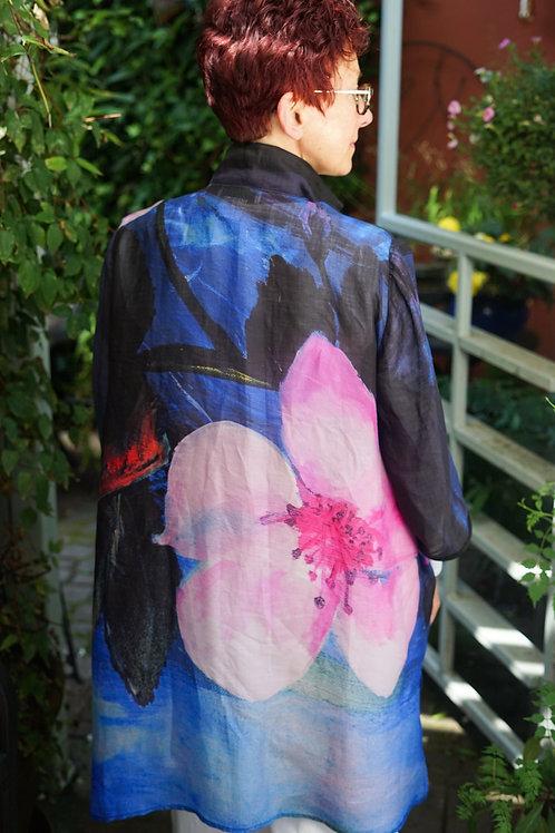 Cherry Blossom Linen Button Coat