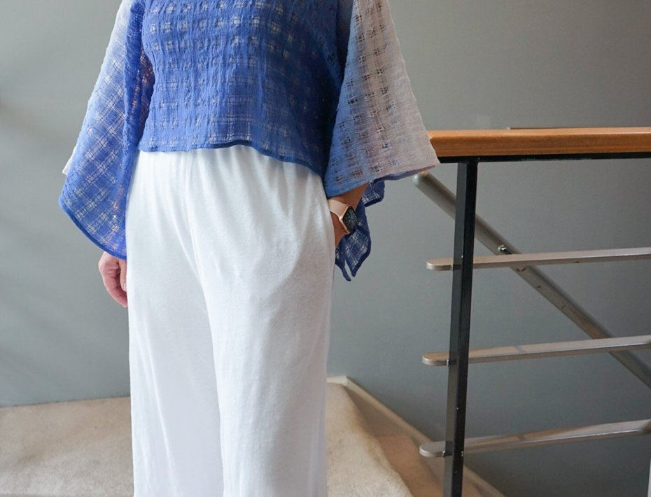 Double cropped knit linen pant