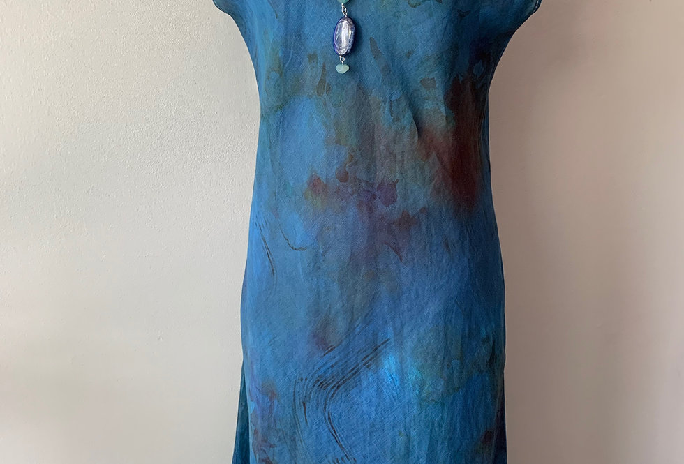 Hand Dyed Royal Linen Print Bias Dress