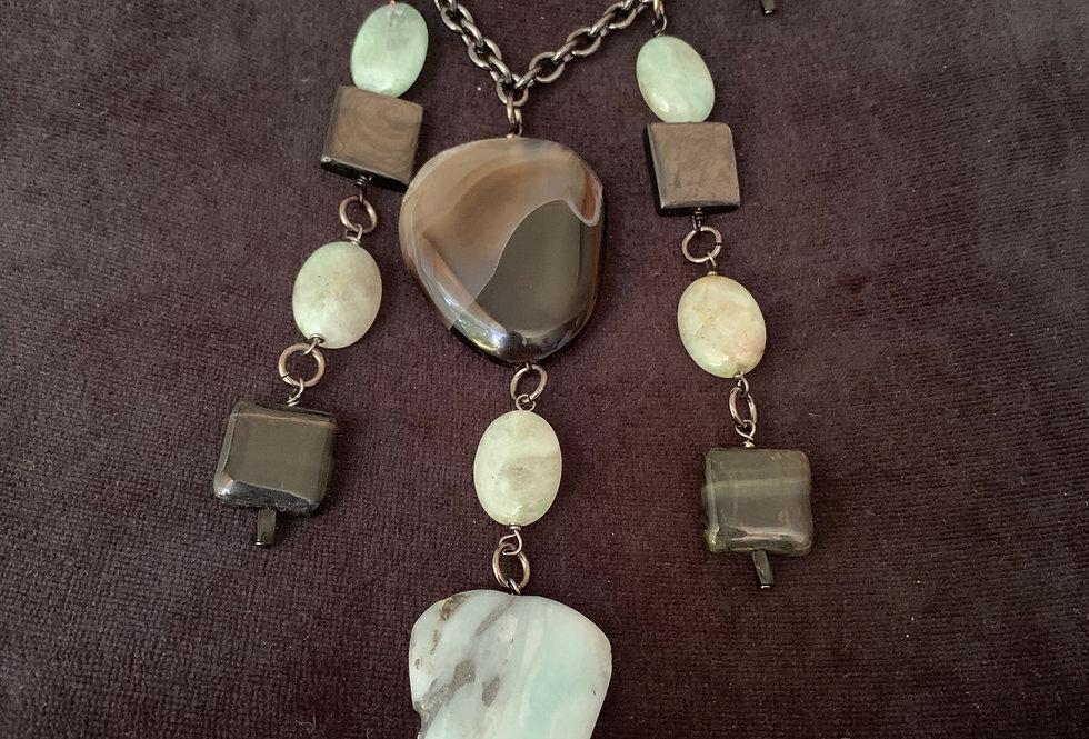 Black Line Polished Agate, Amazonite, Labradorite Necklace