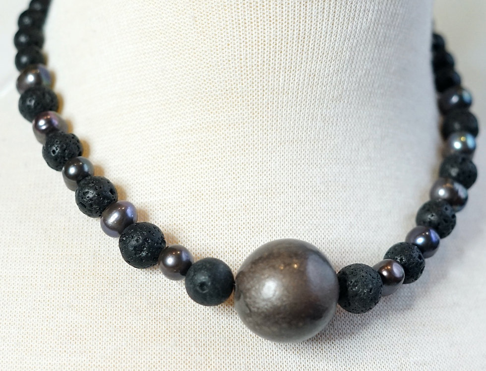 Freshwater Pearl Lava Necklace