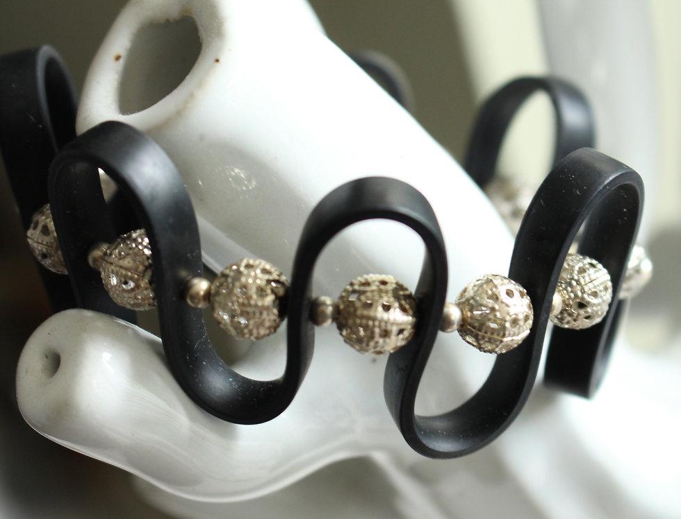 Funky Silver Rubber Bracelet