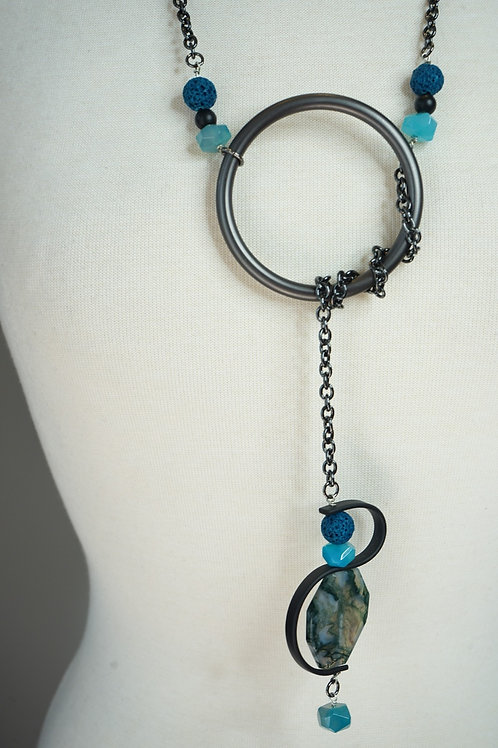 Aqua Agate, Lava & Rubber Lariat Necklace