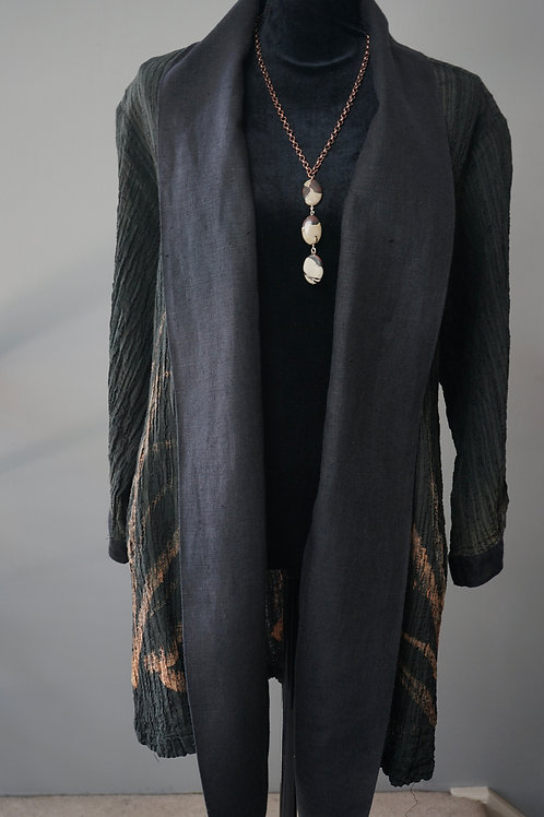BLACK HAND PAINTED CRINKLE LINEN COAT