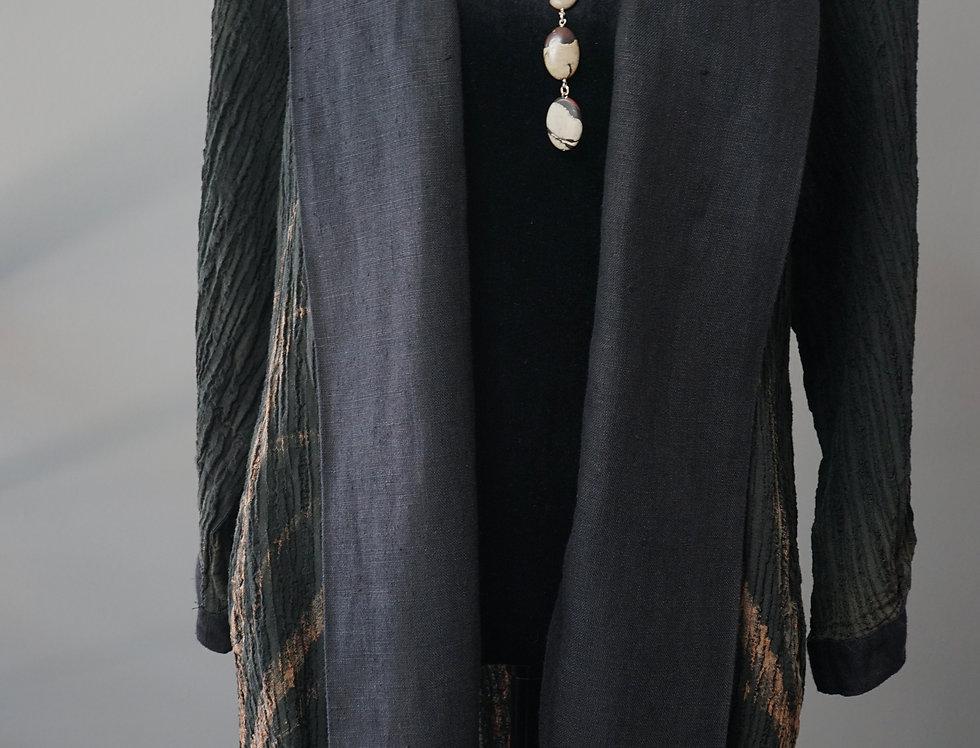 Black Hand Painted Crinkle Linen Coat