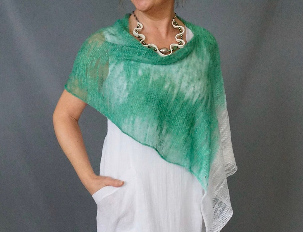 Emerald/White Knit Linen Hand Dyed Wrap