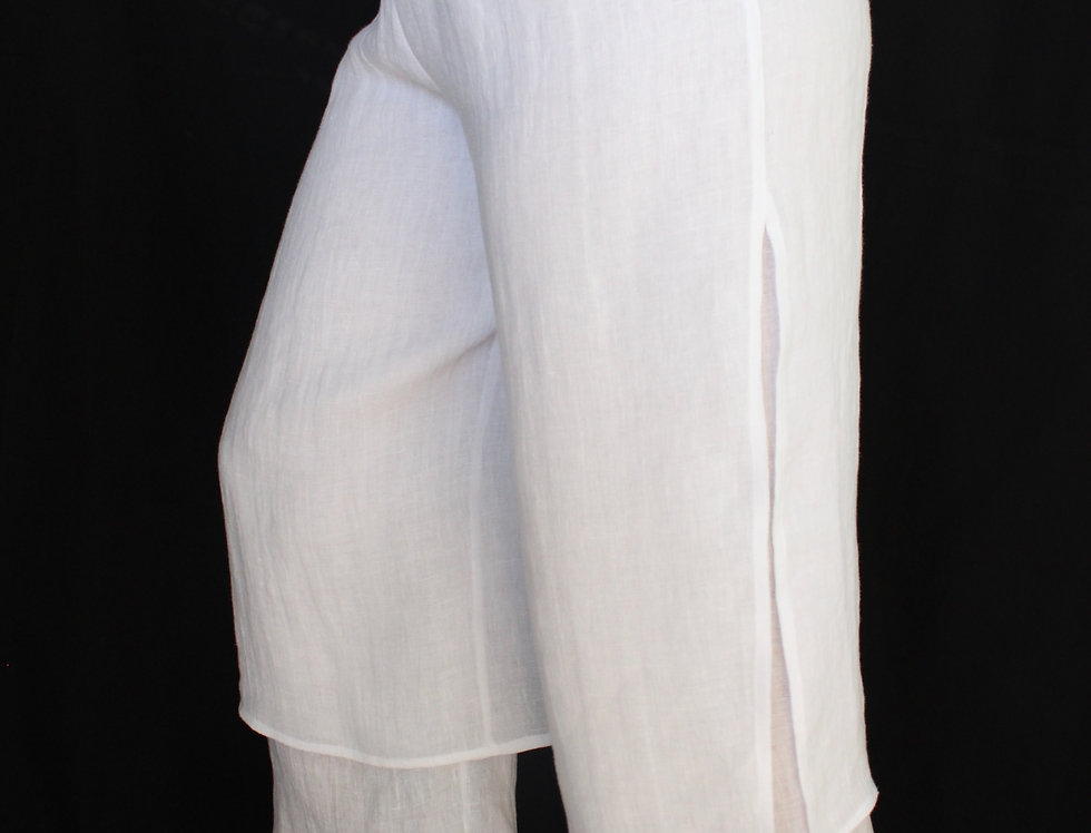 DOUBLE LAYER CROPPED LINEN PANT