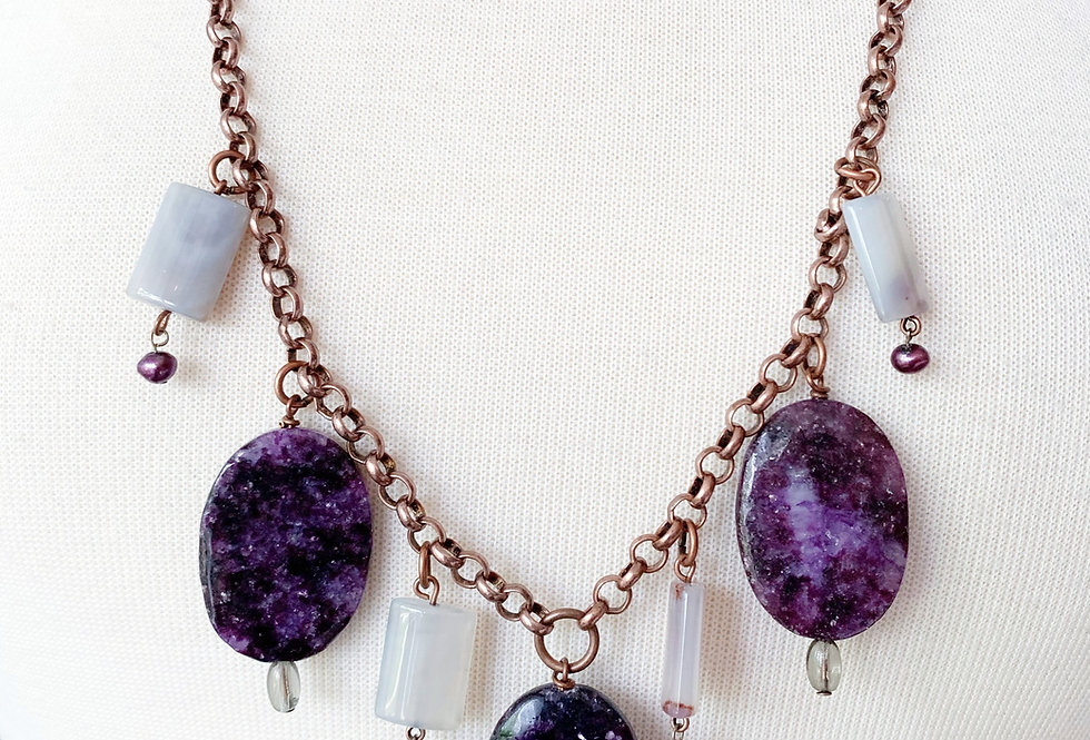 Purple Moon Stone & Grey Agate Charm Necklace