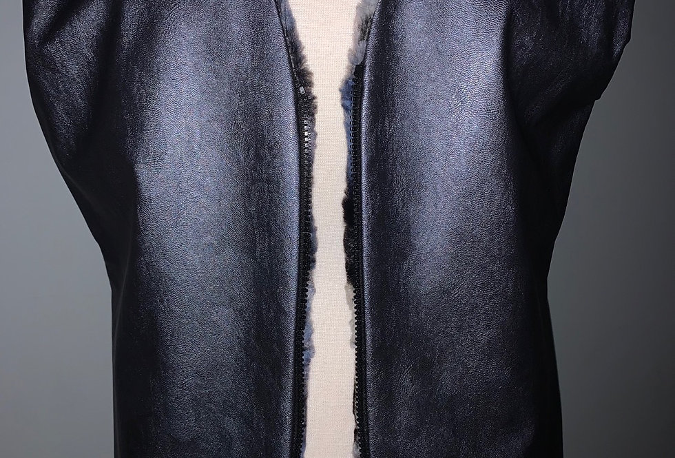 Reversible Fur Vest (Steel Blue)