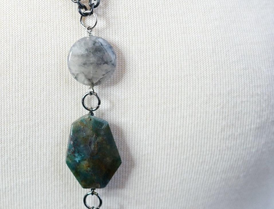 Silver & Quartz 3 Tier Pendant Necklace