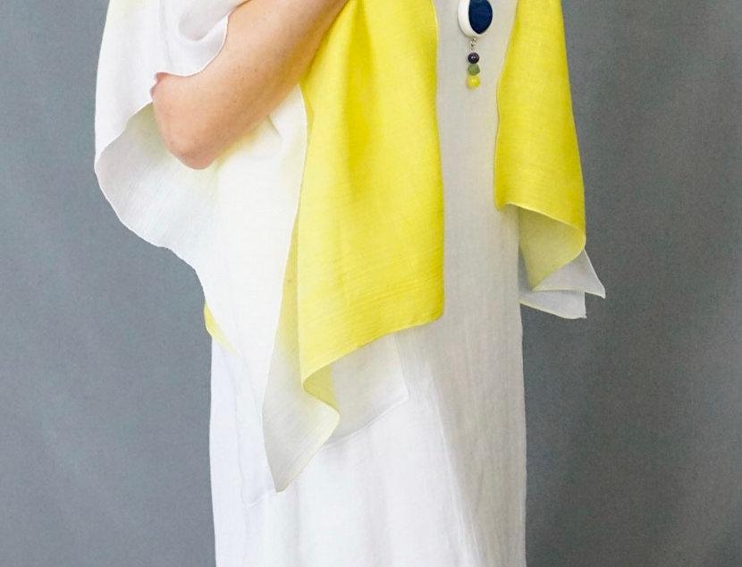 Lemon/ White ombré Hand Dyed Linen Easy Jacket.