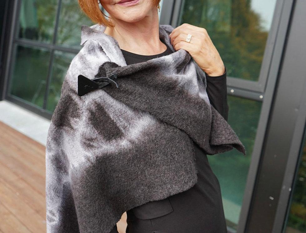 Black & White Hand Dyed Wool Wrap