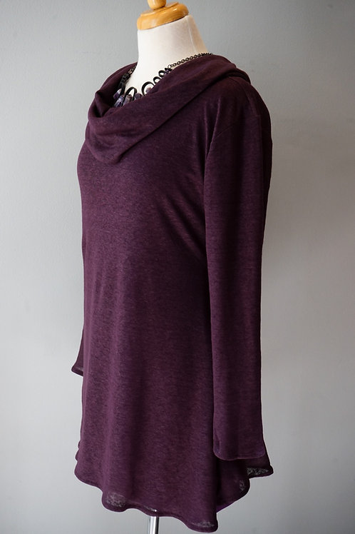 The Cowl Long Sleeve Knit Linen Tunic