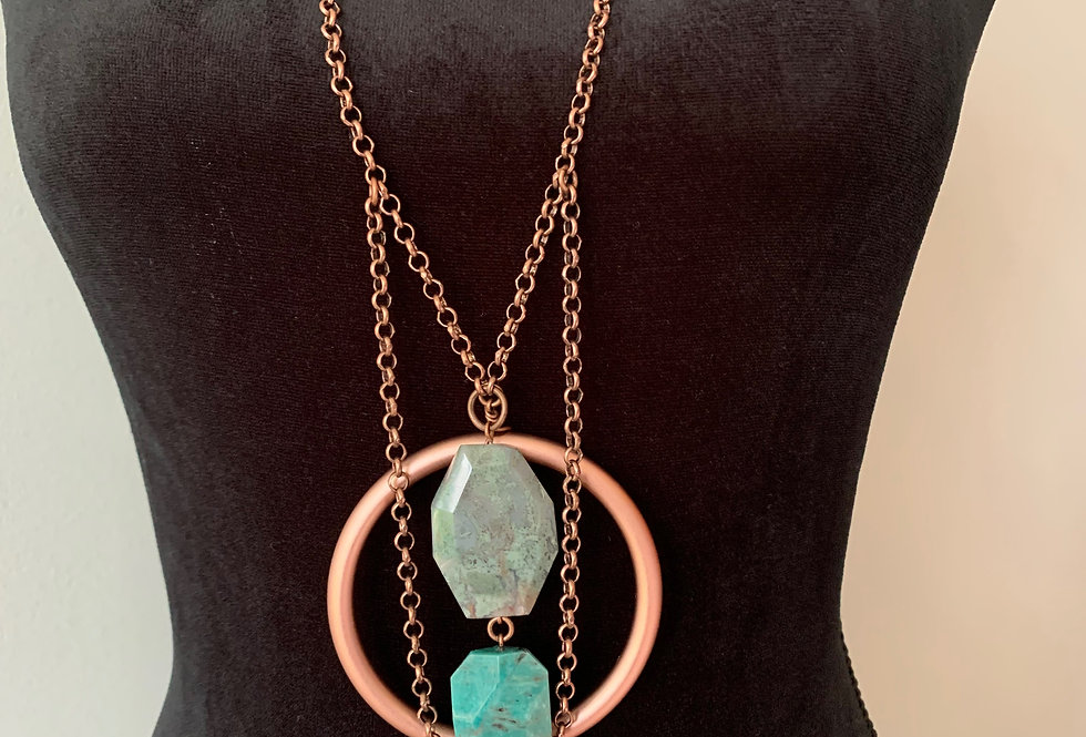 Copper Ring, Turquoise Agate, Blue Lace Agate Necklace