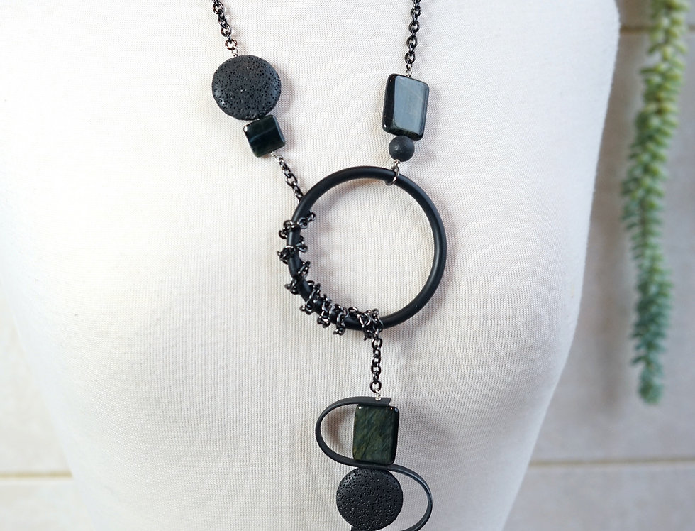 Lava & Hyperstien Rubber Wave Lariat Necklace