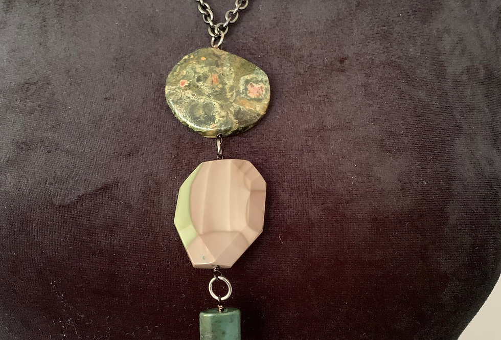 Moss Agate, Faceted Pink Agate, Labradorite, Jade Necklace