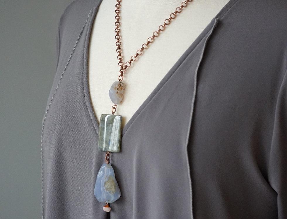 Blue Lace Agate 3 Stone Necklace