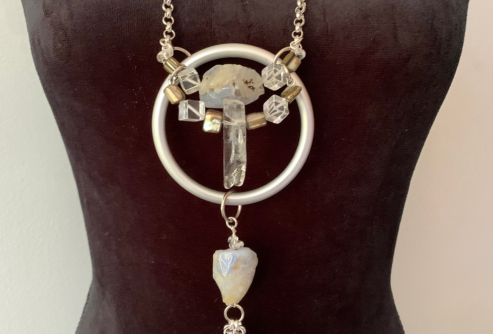 Silver Ring, Blue Lace Agate,Crystal Necklace