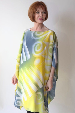 Hand Painted grey yellow tunic