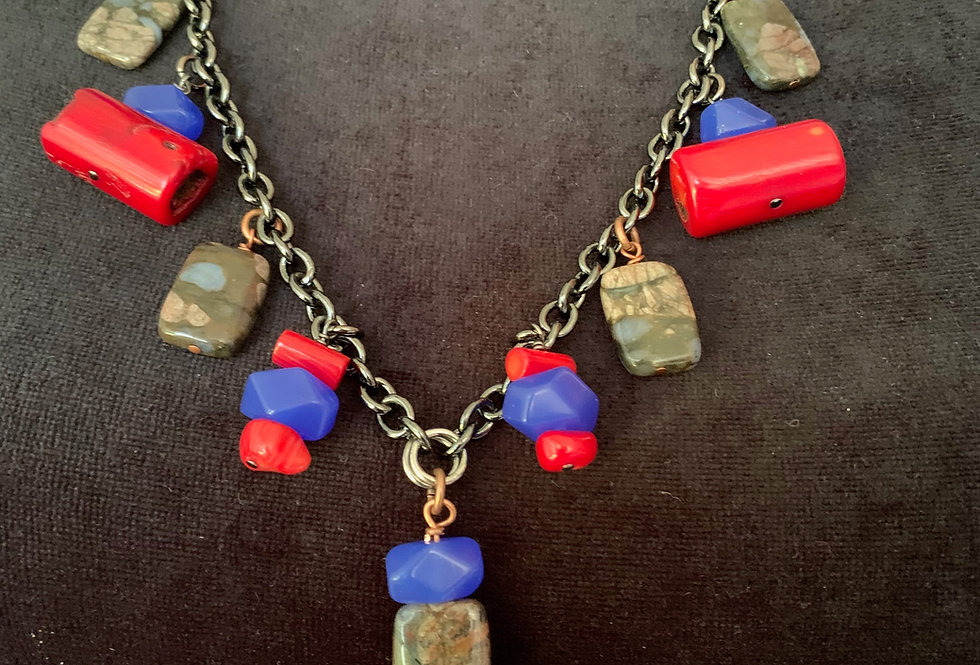 Red Coral, Lapis, Agate Necklace