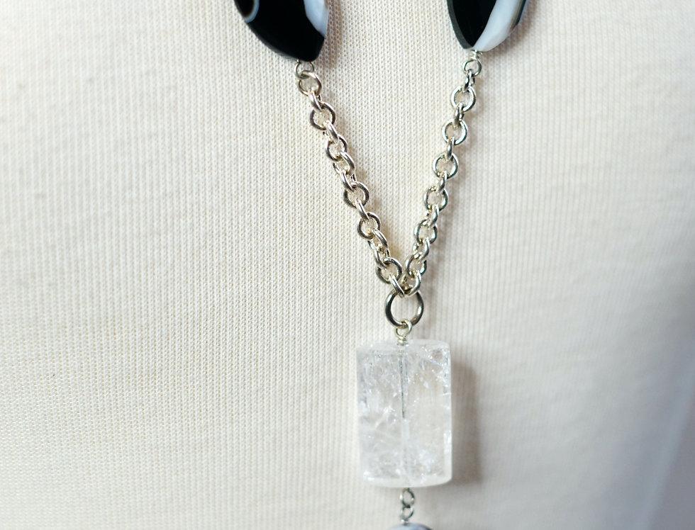 Crystal & Black Agate Pendant Necklace