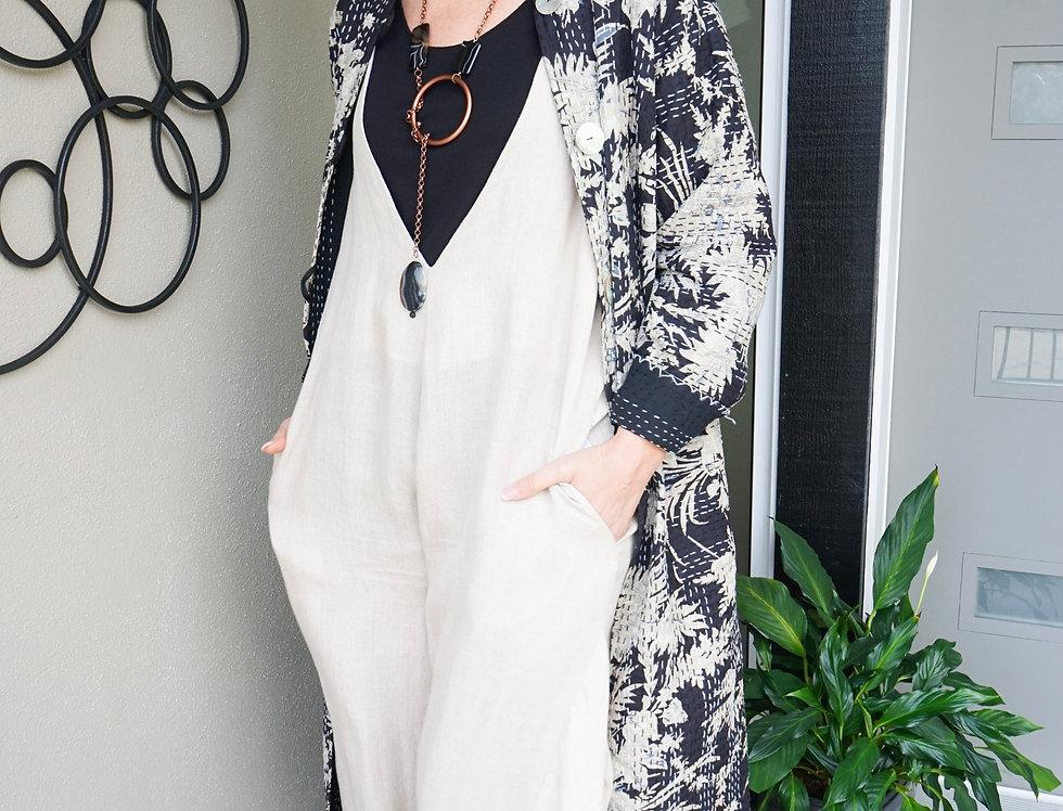 Long Reversible Kantha Coat (Floral Black/Beige)