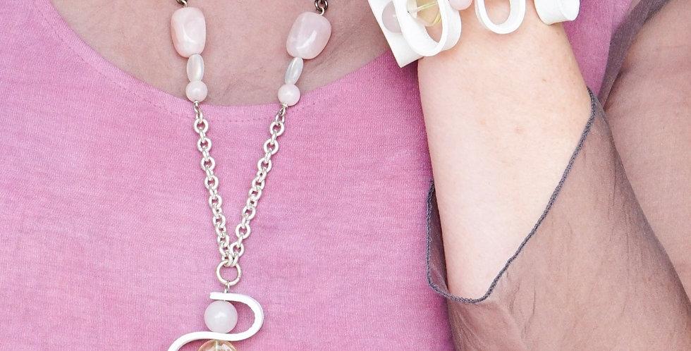 White Leather & Rose Quartz Bracelet