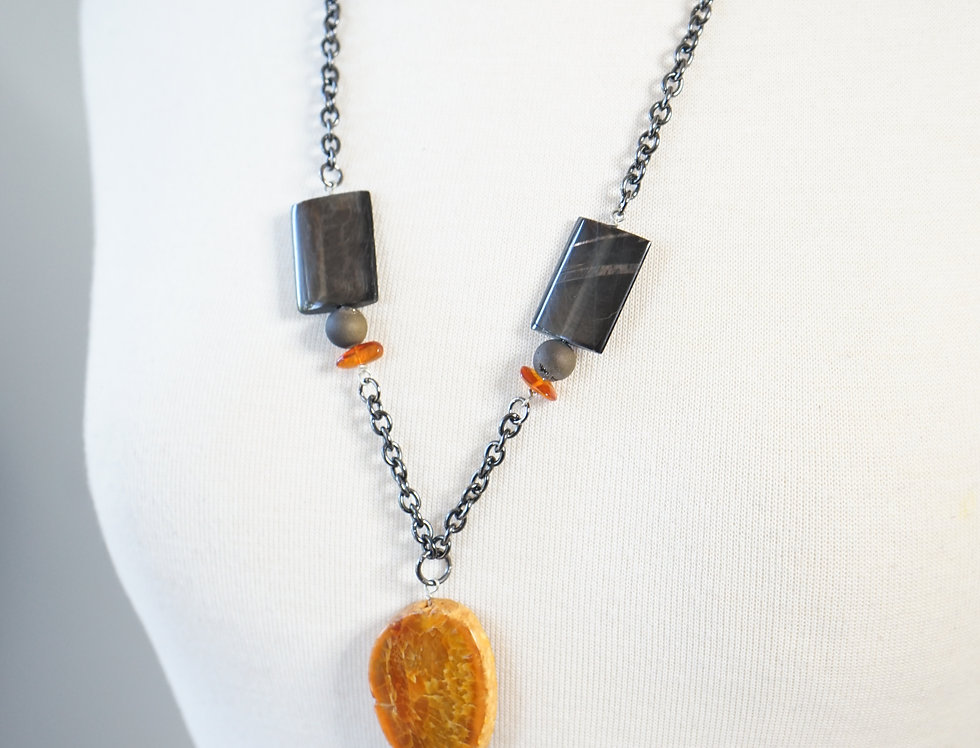 Agate & Hypersthene Pendant Necklace