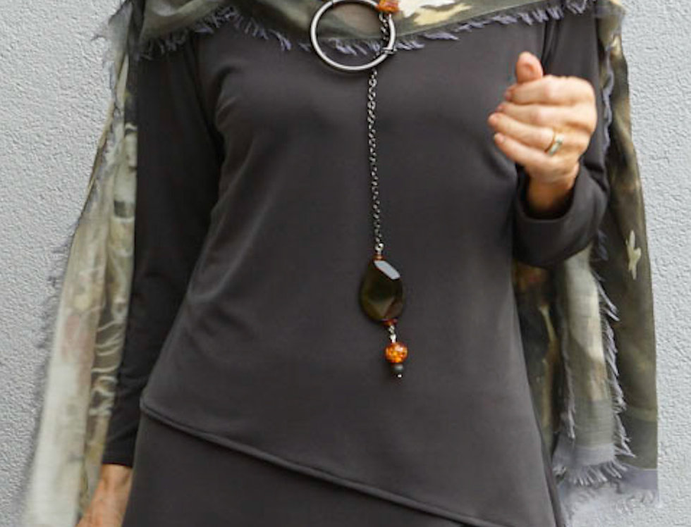 Basic Asymmetrical V-Neck Top