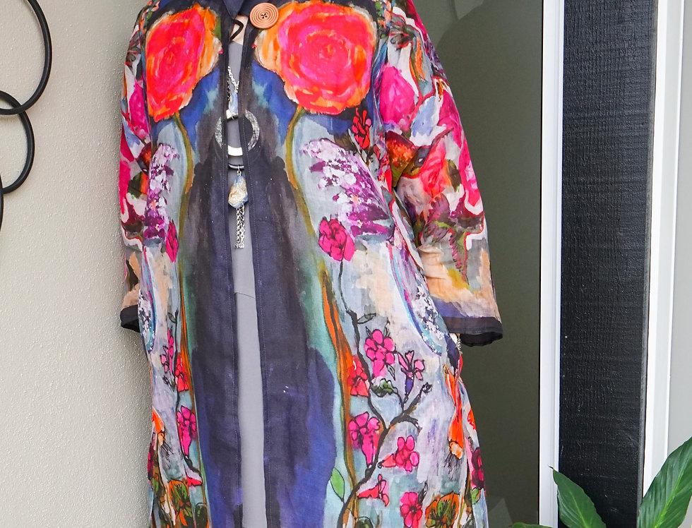 Exclusive Hummingbird Linen Duster Jacket
