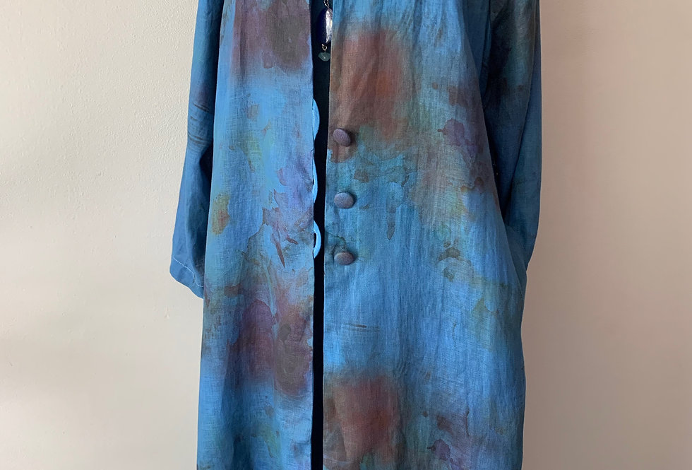 Long Hand Dyed Royal Linen Coat
