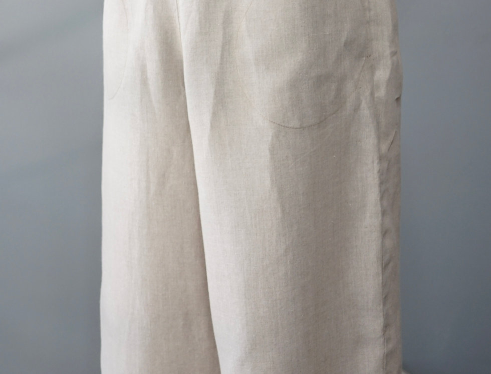 NATURAL LINEN CROPPED PANT