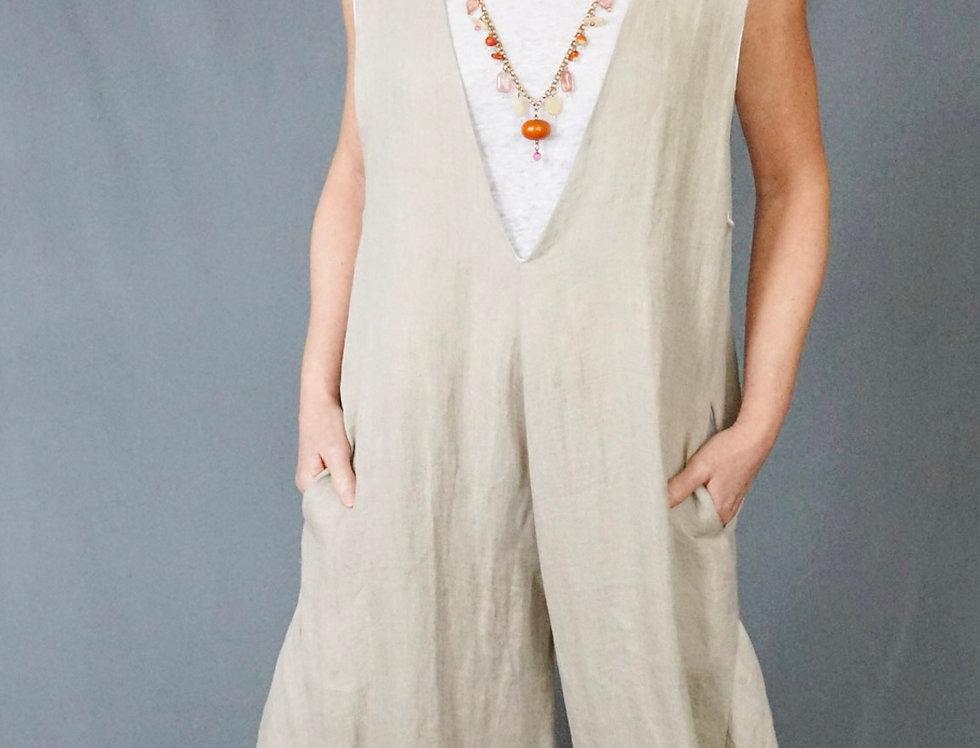 Linen reversible harem jumpsuit