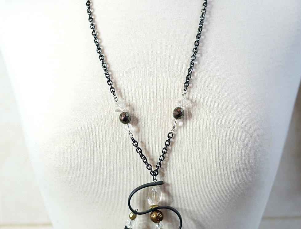 Crystal Rose Swirl Pendant Necklace